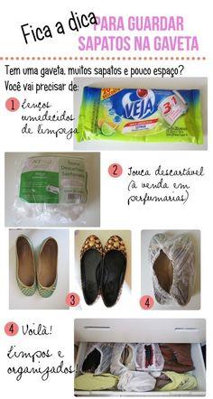 Dá para guardar sapatos em gavetas. É só limpá-los e acomodá-los em toucas descartáveis. | 24 truques de organização que vão tornar sua vida melhor
