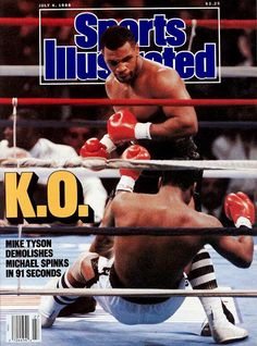 Sports Illustrated 'On this day in 1988, Mike Tyson pummeled Michael Spinks - knocking him out in 91 seconds.'