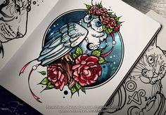 Owl by Anastasia Avina on ArtStation. Tattoo Design Drawings, Tattoo Sketches, Art Drawings, Unique Tattoo Designs, Flower Tattoo Designs, Body Art Tattoos, Sleeve Tattoos, Small Tattoos, Tatoos