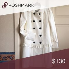 """Beautiful Wool Peacoat NWOT.  Beautiful coat was ordered and was too large. High quality Wool. The color is off white. Size 10. Chest Measures at 19"""", Shoulder to hem is 37"""" and arm length is 25"""" Aoisos Jackets & Coats Pea Coats"""