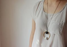 Abstract necklace geometric necklace-statement necklace-white turquoise and Obsidian ball necklace-gemstone ball and brass circle necklace