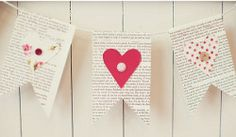 I love the vintage look of this Beloved's Day Banner. Great use for old book pages!