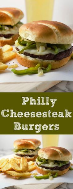 Philly Cheesesteak Burgers are the perfect year round burger that will stand out from the crowd. All of the classic cheese steak flavors o. Burger Recipes, Grilling Recipes, Meat Recipes, Dinner Recipes, Cooking Recipes, Dinner Ideas, Sandwiches, Beef Dishes, Food Dishes