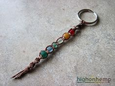 Rainbow Glass Hemp Keychain  #rainbow #hemp #keychain