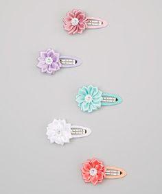 Loving this Aqua & Coral Hair Clip Set on #zulily! #zulilyfinds