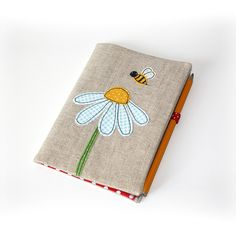 B for Bee - notepad cosy Freehand Machine Embroidery, Free Motion Embroidery, Machine Embroidery Projects, Embroidery Applique, Sewing Art, Sewing Crafts, Sewing Projects, Notebook Covers, Journal Covers