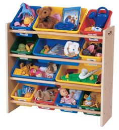 $57.97-$79.99 Baby Tot Tutors Toy Organizer, Primary Colors - This fun and functional wood organizer stores loads of children's toys in easy-to-see, easy-to-access plastic bins. Carry the bins around the house, play all day, fill them back up with toys and store them in the sturdy rack. http://www.amazon.com/dp/B000067PTO/?tag=pin2baby-20