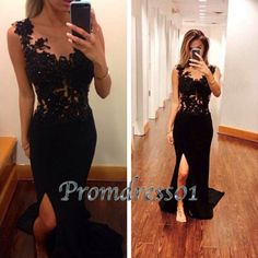 Modest prom dress, black lace ball gown,Sexy side slit long occasion dress for teens http://www.promdress01.com/#!product/prd1/4260685435/sexy-black-chiffon-long-slit-homecoming-dresses
