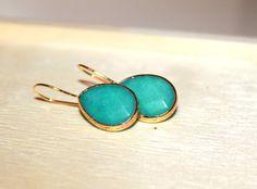 Aquamarine Stone Earrings Gemstone Dangle Earrings by JewelrybyOz