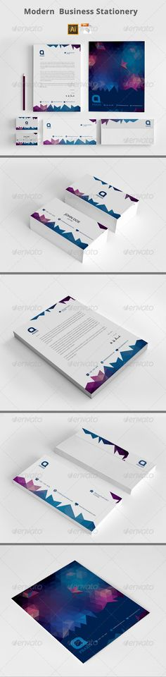Buy Modern Business Stationery by azadcsstune on GraphicRiver. File Includes Letterhead and Letter size Business Card Envelope Presentation Folder Editable Illustrator files (ai. Corporate Stationary, Corporate Identity, Stationery Printing, Stationery Design, Presentation Folder, Card Envelopes, Letterhead, Print Templates, Business Cards
