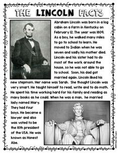 Abraham Lincoln Close Reading Non Fiction Text for First Grade and Kindergarten. Includes flip book and worksheet with text dependent questions too! $