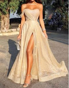 Sexy One Shoulder Slim Fit Split Evening Maxi Dress, - Evening Dresses Pretty Prom Dresses, Elegant Dresses, Beautiful Dresses, Formal Dresses, Straps Prom Dresses, Prom Dresses For Girls, Gold Formal Dress, Chiffon Dresses, Mini Dresses