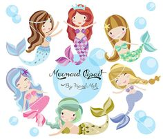 Cute Mermaid Clipart Mermaid clipart PNG file-300 dpi. by HandMek