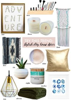 Modern & boho chic home décor pieces from the makers of Etsy.