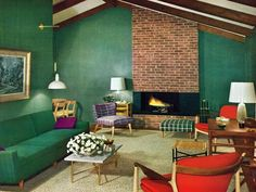 Dark, bold colours with a mid century brick fireplace