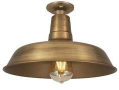 Vintage Industrial Flush Mount Farmhouse Ceiling Light - Brass VL443175074