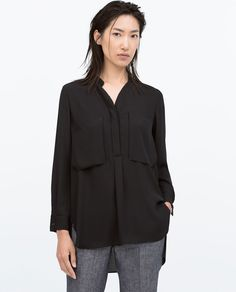 ZARA - COLLECTION SS15 - OVERSHIRT WITH GOLD BUTTON AND FRONT POCKET