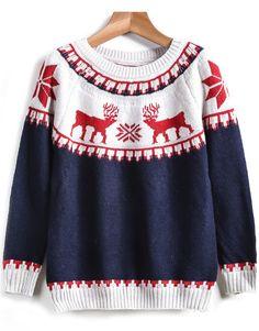 Blue Long Sleeve Deer Print Knit Sweater 18.67