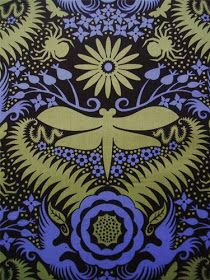 Flower and Insect fabrics by Jane Sassaman: Lively Silhouette from the Garden Divas series