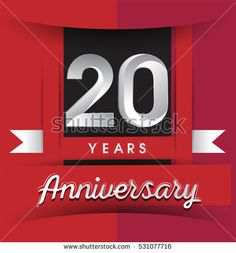 20 years anniversary logo with white ribbon isolated on red background, flat design style, Vector template elements for birthday celebration.