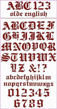 "! ! ! Olde English Font ! ! ! This is a classic font with a formal appearance that can be used for a multitude of projects.  It's perfect for monograms on towels, table linens, bedding, clothing, totes and tees, etc.  The Upper Case and Numbers are 3"" tall, and the lower case letters are between 1"" - 1.75"" tall."