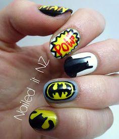 DC comics Batman inspired nails. Superhero nail art.