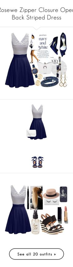 """""""Rosewe Zipper Closure Open Back Striped Dress"""" by alignmentmag ❤ liked on Polyvore featuring Christian Dior, Swarovski, Jil Sander, LULUS, Ippolita, Kate Spade, Gianvito Rossi, Tory Burch, French Blu and Casetify"""