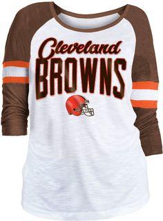3974961ac NFL Team Apparel Women s Cleveland Browns Glitter Slub White Raglan Shirt