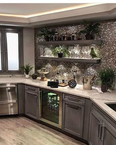 44 Inspiring Design Ideas for Modern Kitchen Cabinets - The Trending House Home Bar Decor, Home Decor Kitchen, Home Kitchens, Kitchen Walls, Gray Home Decor, Elegant Home Decor, Kitchen Curtains, Kitchen Flooring, Kitchen Ideas