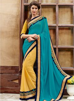 Aqua Blue Embroidered Saree NOW 40% OFF! SHOP NOW