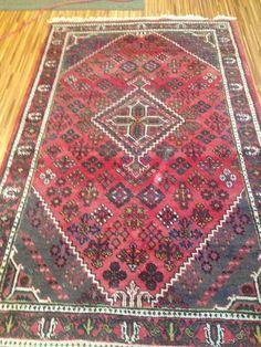 4'3x6'9 Red 100% Wool Vintage Distressed Handwoven Rug