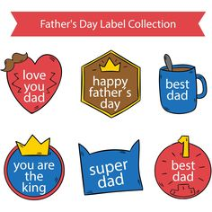 Fathers Day Labels Collection Love You Dad