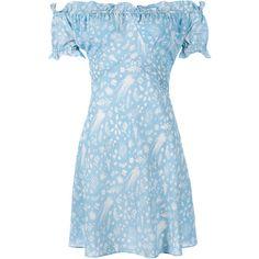 RIXO London Kiera Off Shoulder Mini Dress- Blue Cream Rosemary ($310) ❤ liked on Polyvore featuring dresses, pale blue dress, cream dress, print dress, blue mini dress and summer mini dresses