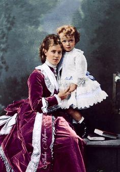 Tsesarevna Dagmar-Maria Fyodorovna with her child, Grand Duke Nicholas II Alexandrovich Romanov. Wife of Tsar Alexander III.