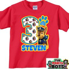 Chase Paw Patrol Birthday Party Shirt   Handmade and Personalized Gifts, Home Decor, Shirts, Car Decals
