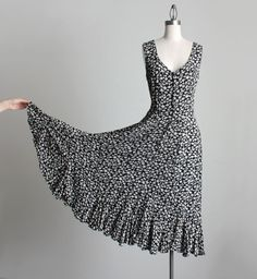 FLORAL MAXI DRESS 1990s Vintage Black And White Floral by decades, $38.00