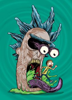 Rick and morty style guide assets art direction, graphic design, illustration Trippy Rick And Morty, Rick And Morty Drawing, Rick And Morty Tattoo, Rick And Morty Merch, Rick And Morty Poster, Trippy Drawings, Psychedelic Drawings, Trippy Painting, Cartoon Painting
