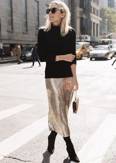 Holiday party outfit: black turtleneck sweater, sequin skirt and ankle boots | Damsel in Dior
