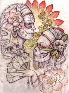 day of the dead pin up tattoos | Day of the dead half sleeve | Kelly McEvoy House of Design