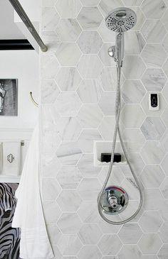 carrelage hexagonal, carrelage mural de salle de bain