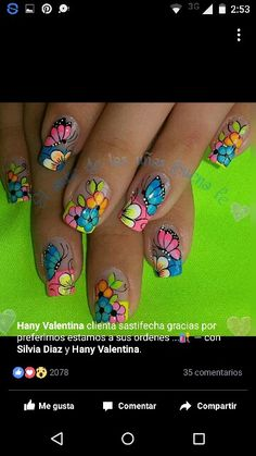 Vɩѵɩaŋa Butterfly Nail Designs, Butterfly Nail Art, Flower Nail Art, Fingernail Designs, Diy Nail Designs, May Nails, Hair And Nails, Green Nails, Mo S