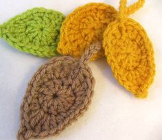 Free Simple Leaf Crochet Pattern. Slightly different from usual leaf patterns. Would be lovely with overstitching.