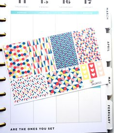 6 MAMBI Square Vibrant Planner Stickers  Happy by Willowfields