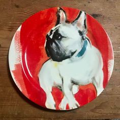 Anthropologie Sally Muir Dog-A-Day French Bulldog Plate Salad Dessert Red Rustic Bowls, Anthropologie Home, Coconut Bowl, Soup Bowl Set, Dessert Salads, Snack Bowls, Westies, Salad Plates, Sally