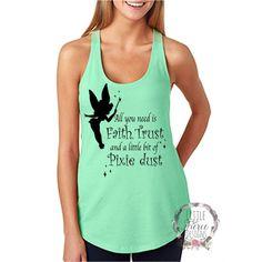 Disney Faith, Trust, Pixie Dust Disney Shirts Disney Family Shirt... ($23) ❤ liked on Polyvore featuring tops, disney, pixies shirt, green shirt, disney shirts and shirt top