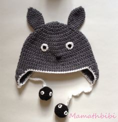 Crochet Patterns Needles Here, as promised on Ig, a tutorial of my version of the Totoro cap. Bonnet Crochet, C2c Crochet, Crochet Needles, Learn To Crochet, Free Crochet, Crochet Patterns, Crochet Hats, Totoro Crochet, Crochet For Boys
