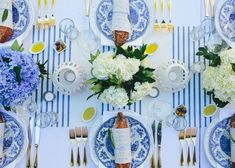 Tara Guérard French Themed Garden Dinner Party. Blue and white, hydrangreas