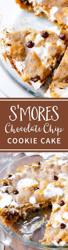 S'MORES Chocolate Chip Cookie Cake recipe-- soft-baked and ready for you to dig in! Recipe on sallysbakingaddiction.com