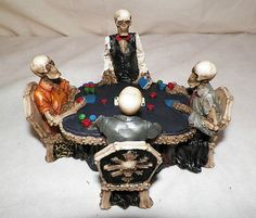 KELETONS PLAYING CARDS POKER CASINO GOTHIC BONE CHAIRS