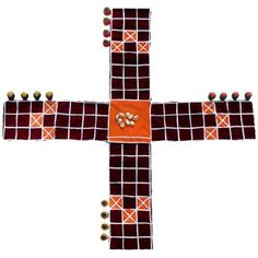 ancient native american board game called Patolli.  related to the indian game pachisi.